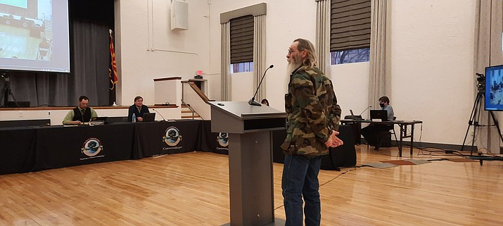 Dyson Boatman was one of six people to speak during public input at Tuesday's Cottonwood City Council meeting. The speakers spoke on a variety of national issues and concerns. VVN/Jason W. Brooks