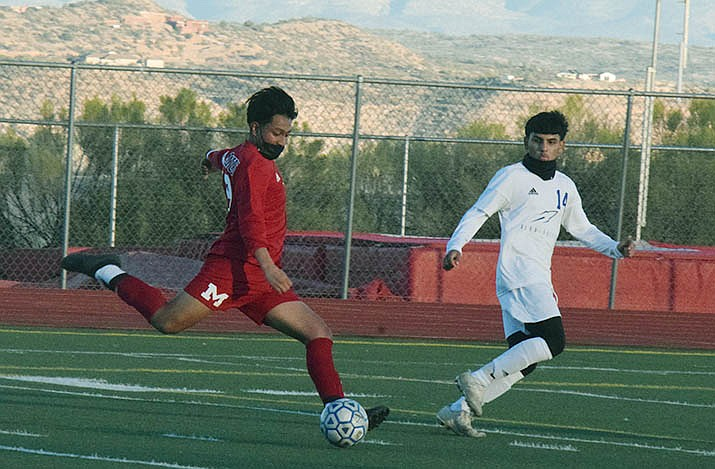 Mingus Union sophomore Wyatt Pallarez prepares to launch the first of his two goals in Friday's match. The Marauders host Tempe on Tuesday, Feb. 23 and Peoria on Tuesday, March 2 to close out the regular season. VVN/Jason W. Brooks