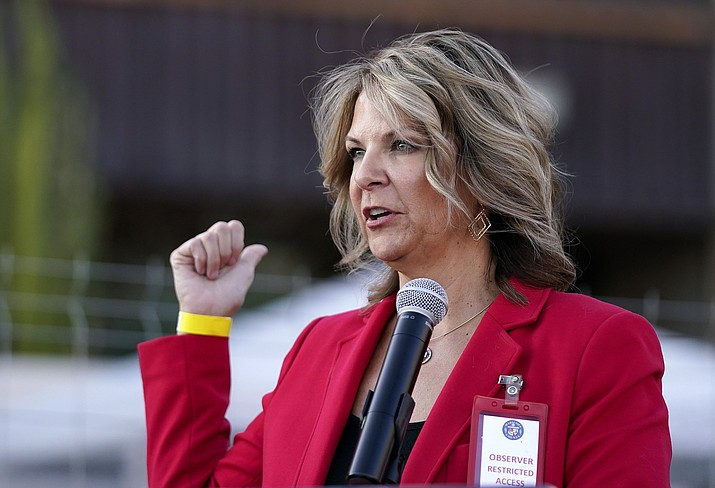 In this Nov. 18, 2020, file photo, Dr. Kelli Ward, chair of the Arizona Republican Party, holds a press conference in Phoenix. On Monday, Feb. 22, the justices rejected the pleas of Ward, who said she should have been given more time to ferret out what she contends was evidence that Donald Trump actually outpolled Joe Biden in Arizona. (Ross D. Franklin/AP, file)