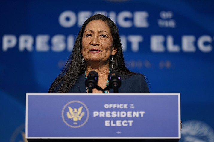 In this Dec. 20, 2020, file photo the Biden administration's nominee for Secretary of Interior, Rep. Deb Haaland, D-N.M., speaks at The Queen Theater in Wilmington Del. (AP Photo/Carolyn Kaster, File)