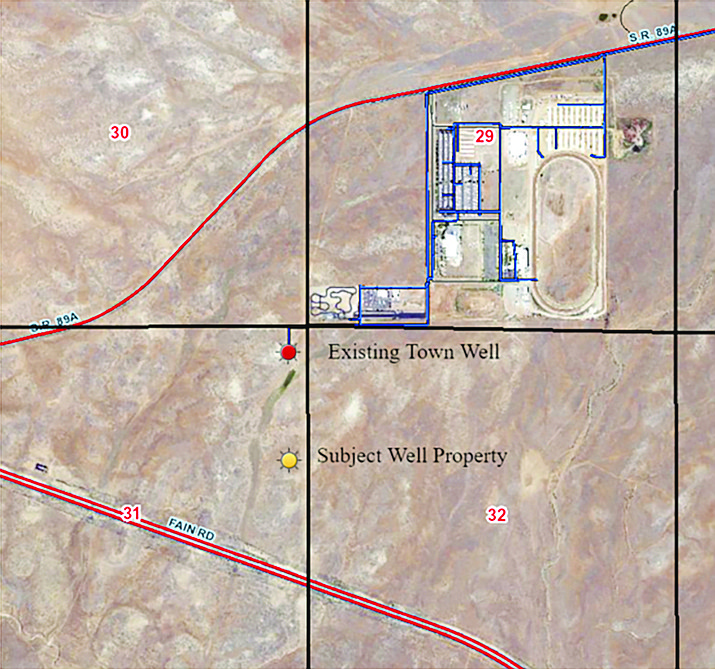 """Prescott Valley Utilities Director Neil Wadsworth said on Feb. 18 that if the town buys Monks Well, shown on this map as the """"Subject Well,"""" it would provide the town with three water wells in the area south of the former Yavapai County Fairgrounds. If the town's two existing wells were to encounter problems, Monks Well could be used as a backup. (Town of Prescott Valley)"""