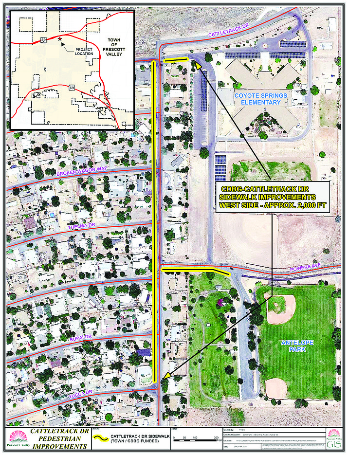 This map from the Town of Prescott Valley shows with yellow markings where work will be done this year to improve pedestrian access along Cattletrack Road (not Cattletrack Drive, as shown), from Yucca Drive to Addis Avenue. (Town of Prescott Valley/Courtesy)