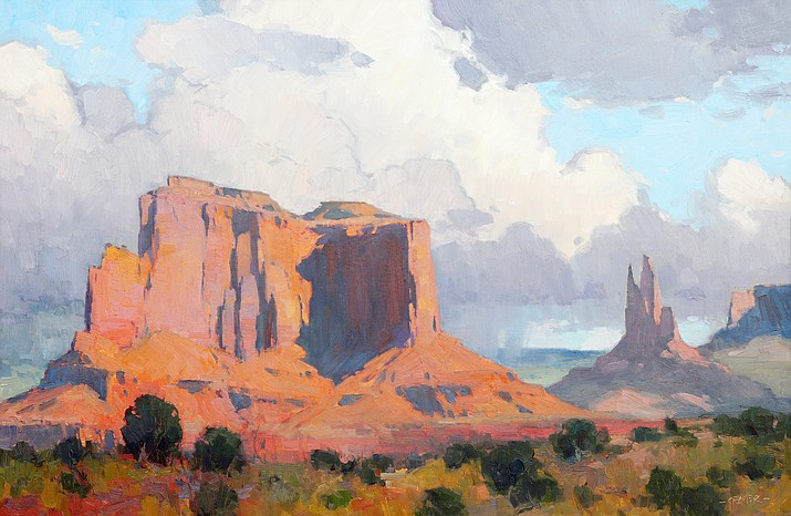 "'Storm Behind the Mesa,' by Bill Cramer. The exhibition ""Enclaves and Outlooks"" opens March 5, with a reception from 4-7 p.m., and continues throughout the month at their gallery located inside Tlaquepaque Arts & Crafts Village in Sedona."
