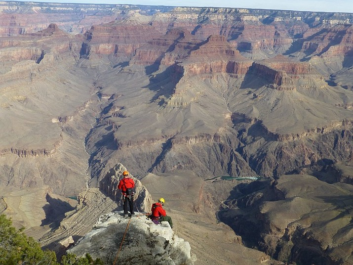 Rangers from the National Park Service are seen during the recovery operation of a body Tuesday, Feb. 23, 2021, near Trailview Overlook along the Hermit Road at the Grand Canyon. (National Park Service)