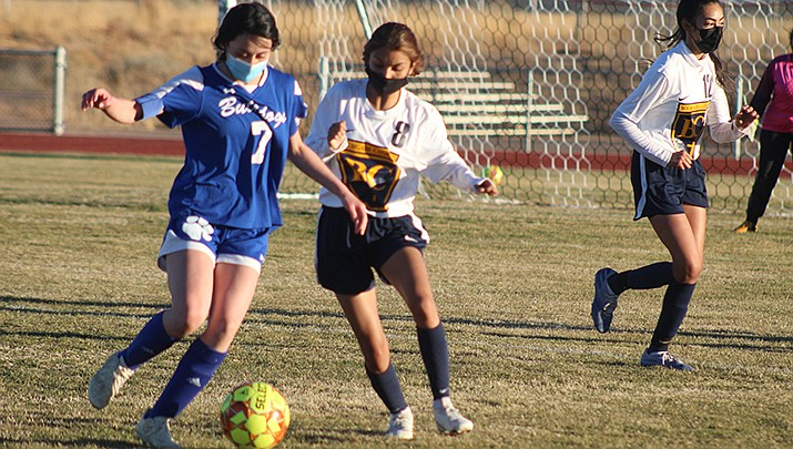 The Kingman High School girls soccer team beat Wickenburg 2-1 on Thursday, Feb. 25. Senior Elvira Torres is shown in a game on Feb. 5 against Bourgade Catholic. (Photo by Casey Jones/Kingman Miner)