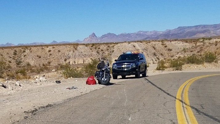 An Apache Junction man died when his motorcycle left the roadway while northbound on Oatman Highway on Wednesday, Feb. 24. (MCSO photo)