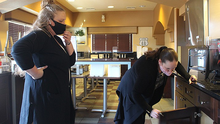 Kendall Kushenreuther, left, took advantage of the Vocational Rehabilitation program and will help with breakfast at the Kings Inn Best Western in Kingman. Assistant General Manager Pamela Brace is shown at right. (Photos by Agata Popeda/Kingman Miner)