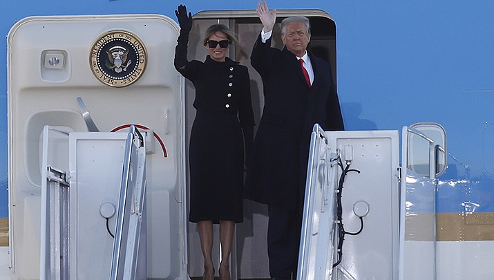 Former President Donald Trump, shown leaving Washington on Jan. 20, will be the keynote speaker at the Conservative Political Action Conference in Orlando, Florida, on Sunday, Feb. 28. (AP file photo)