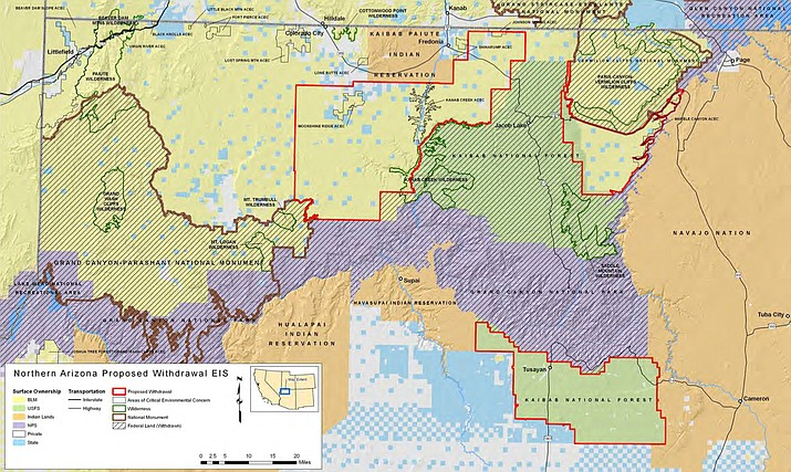 The Interior Department in 2012 imposed a 20-year ban on new mining claims on more than 1 million acres, outlined in red on the map, near the Grand Canyon. The House has passed a bill to make the ban permanent in those areas. (Map courtesy Department of the Interior)