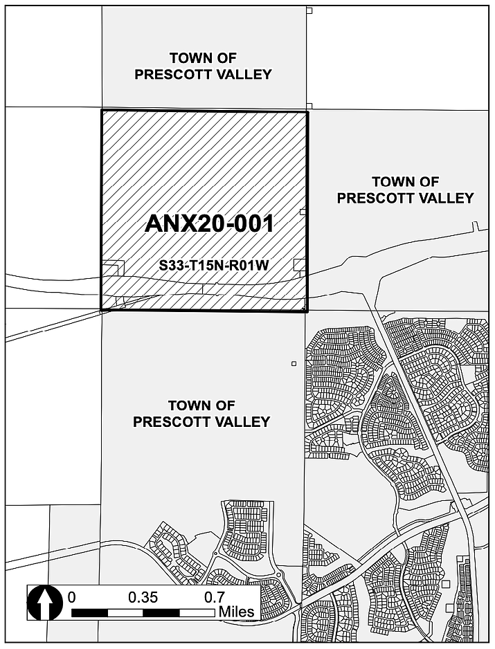 Located in Section 33 on the Town of Prescott Valley map, property 20-001 consists of about 642 acres northwest of the Highway 89A and Glassford Hill Road intersection. (Town of Prescott Valley/Courtesy)