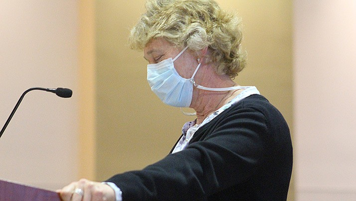 Mohave County Public Health Director Denise Burley talks to the county board of supervisors about the county's response to the coronavirus pandemic on Monday, March 1. (Photo by Agata Popeda/Kingman Miner)