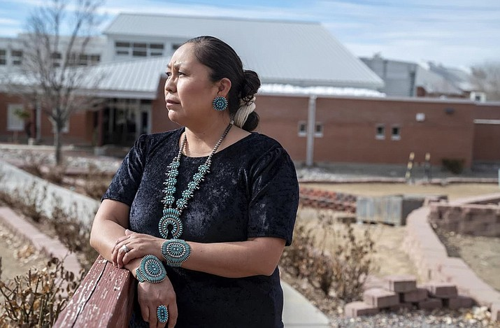 Denise Jensen is a teacher at New Mexico's Navajo Preparatory School, a boarding school for Native American students that has been closed for almost a year because of COVID-19. Jensen has been teaching students remotely since March 2020. (Photo/Steven St. John, Education Week)