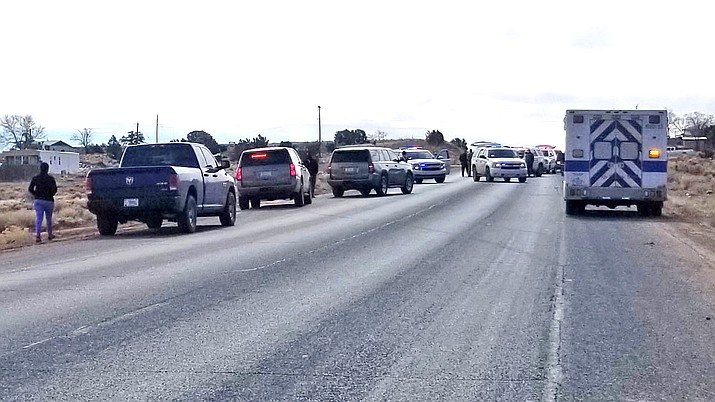 Law enforcement officers and medical personnel respond to an officer involved shooting Feb. 24.  (Photo/Navajo Nation Police Department)