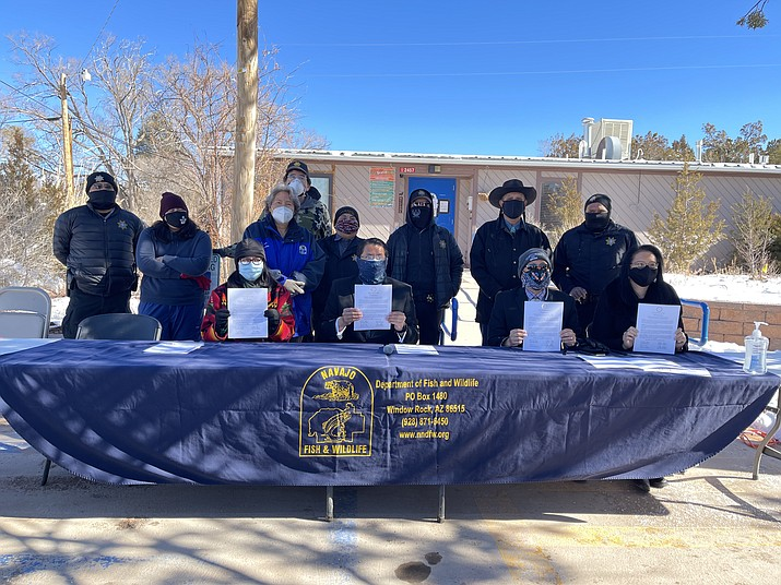 """Navajo President Jonathan Nez offers the proclamation for """"Pet Spay and Neuter Awareness Month."""" (Photo/OPVP)"""