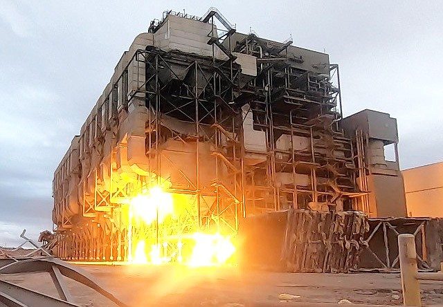 Dynamite blasts drop NGS Units 1 and 2 precips in 7 seconds Jan. 19. (Photo/Salt River Project)