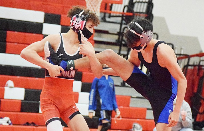 Mingus Union's Brody Townsend, shown here in a recent dual, pinned his Payson opponent in only 19 seconds on Feb. 27. The Marauders are preparing for their Saturday, March 13 sectional meet at Moon Valley in Phoenix. VVN/Jason W. Brooks