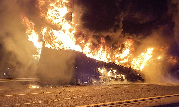 At about 1:40 a.m. Friday, according to a news release, Copper Canyon Fire & Medical responded to a report of semi-truck trailer on fire on I-17, southbound, at milepost 288. Courtesy of Copper Canyon Fire & Medical