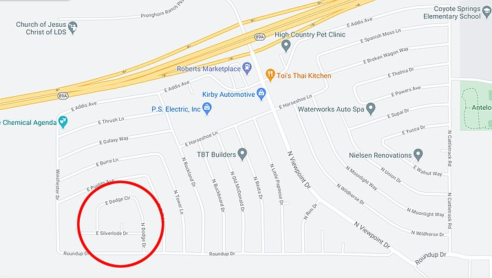 Around 5 p.m. on Friday, March 5, Prescott Valley Police officers responded to reports of shots fired in the 7100 block of E. Dodge Circle in Prescott Valley. (Google map)