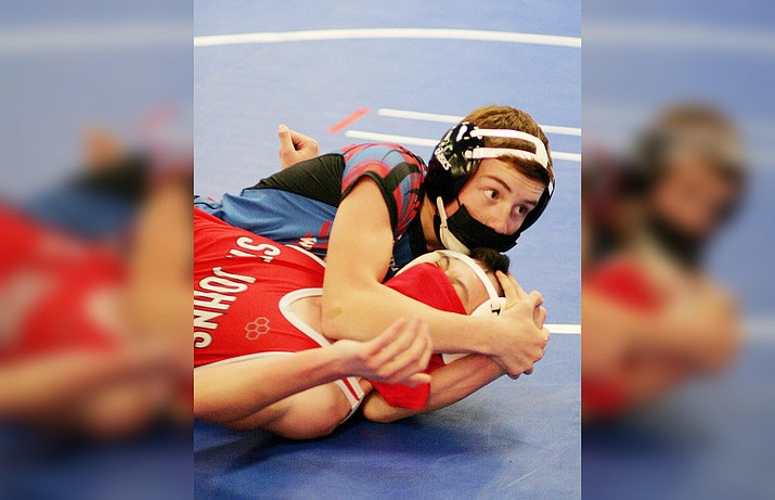 Freshman Angel Casillas, pictured in a match earlier this season, will compete for Camp Verde in the March 16-17 Arizona Wrestling State Championships in the 113-pound category. VVN/Bill Helm