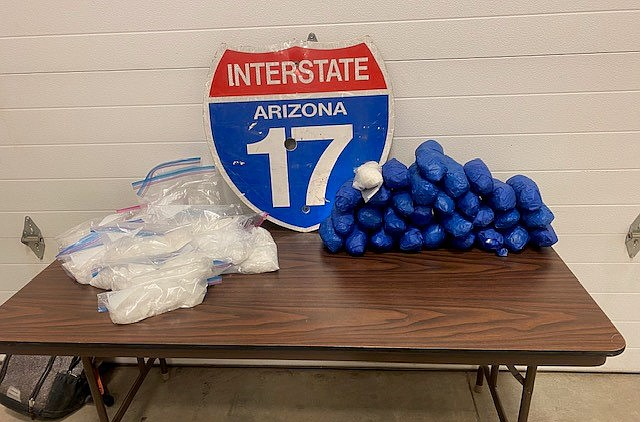Officers and detectives ended up making four arrests and confiscating what appears to be methamphetamine and fentanyl with an estimated street value of almost $200,000, in three traffic stops, according to a news release. Courtesy of Yavapai County SO