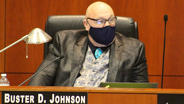 Mohave County and the City of Kingman are set to receive funds as part of a coronavirus relief set to go to Arizona communities. Buster Johnson is pictured from a Feb. 16 meeting. (Miner file photo)