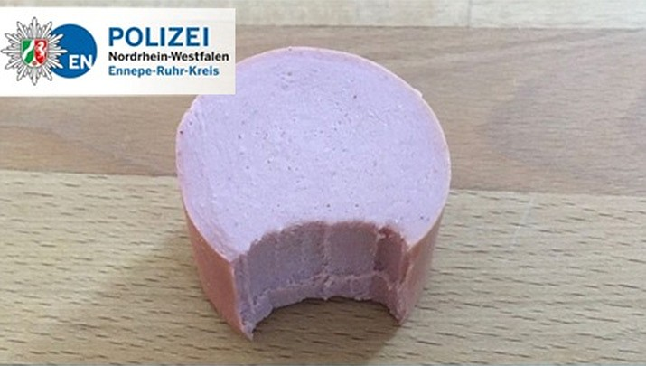 Police in the western town of Schwelm said the sausage belonged to the victim, and the suspect — a 30-year-old Albanian citizen — appeared to have helped himself to a bite during the March 2012 break-in. (Ennepe-Ruhr-Kreis District Police Authority)