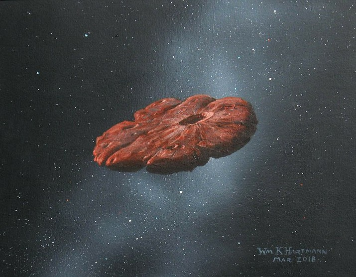 This 2018 illustration provided by William Hartmann and Michael Belton shows a depiction of the Oumuamua interstellar object as a pancake-shaped disk. A study published in March 2021 says the mystery object is likely a remnant of a Pluto-like world and shaped like a cookie. (William Hartmann and Michael Belton via AP)
