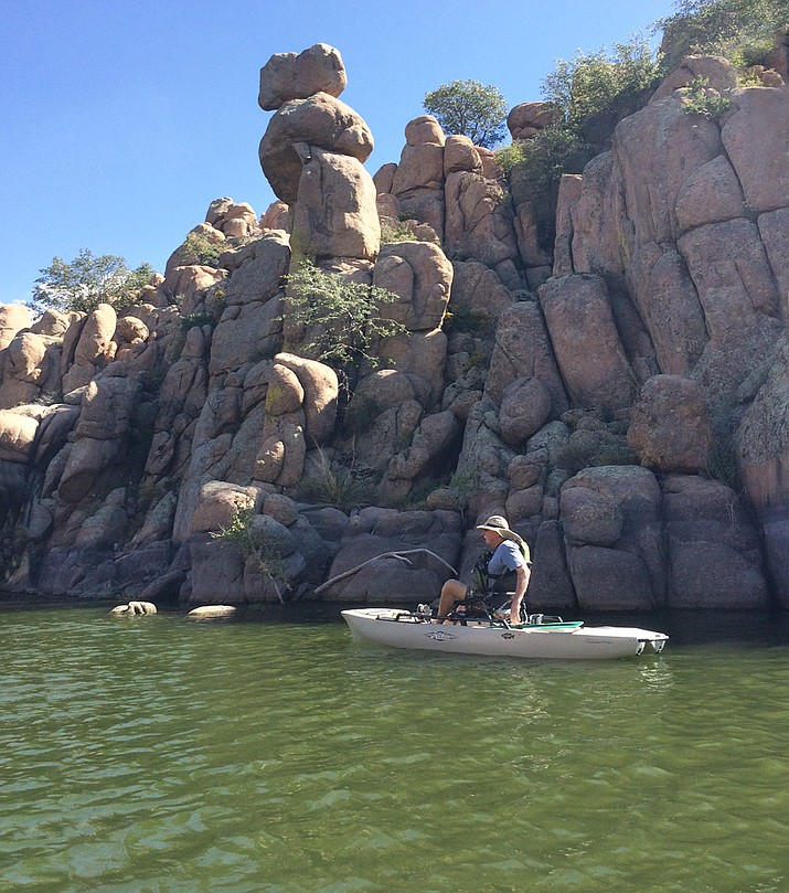 Dan McGowan, a Vietnam veteran from Chino Valley, fishes out on Watson Lake in his kayak as a therapeutic activity to help quell some of his PTSD. He was once part of the Phoenix Chapter of the national organization Heroes on the Water but has recently started the Northern Arizona Chapter in the quad-city area. (Dan McGowan/Courtesy)