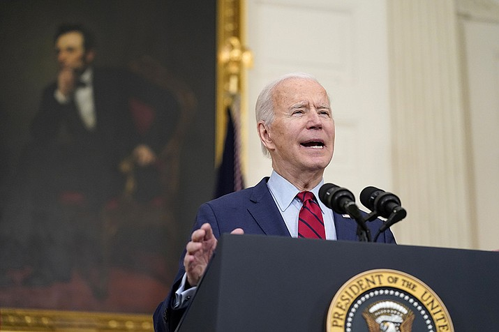 President Joe Biden speaks about the shooting in Boulder, Colo., Tuesday, March 23, 2021, in the State Dining Room of the White House in Washington. (Patrick Semansky/AP)