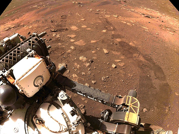 This image was taken during the first drive of NASA's Perseverance rover on Mars on March 4. Perseverance landed Feb. 18, and the team has been spending the weeks since landing checking out the rover to prepare for surface operations. This image was taken by the rover's Navigation Cameras. (Photo/NASA, JPL-Caltech)