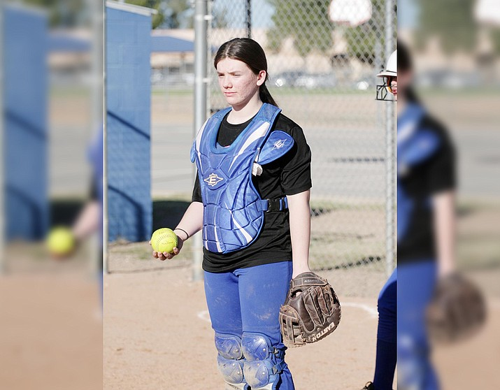 Camp Verde freshman catcher Erin Collon, pictured at a recent practice, walked three times in the girls 11-2 win Tuesday, March 23 at Tonopah Valley. VVN/Bill Helm