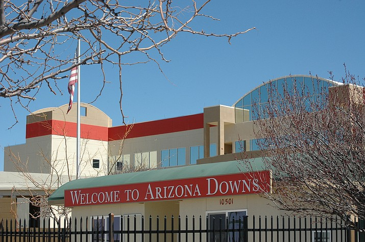 The front of the grandstands/office complex at Arizona Downs horse-racing track, 10501 E. Highway 89A in Prescott Valley, as seen on March 17, 2021. (Doug Cook/Courier)