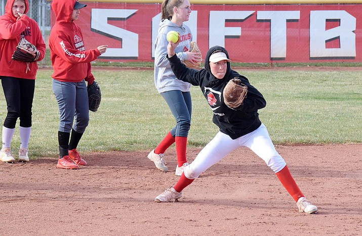 Mingus Union is now 4-0 after sweeping a doubleheader from Mohave. This week, Mingus Union faces Flagstaff at home and away. Pictured, Mallorie Copeland at a recent practice. VVN/Jason W. Brooks.