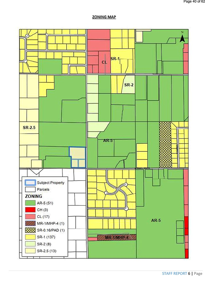 This map depicts the area in Chino Valley, located on the northwest corner of the intersection of S Road 1 West and W Road 2 South, where the rezoning of approximately 5.66 acres of real property would have taken place if the town council approved the motion during a meeting on Tuesday, March 23, 2021. The rezoning would've been from the SR-1 zoning district to the SR-0.16 zoning district with a PAD (Planned Area Development) to develop 10 lots with individual lot areas greater than one half acre. (Town of Chino Valley/Courtesy)
