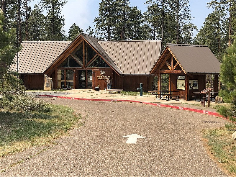Firefighters worked to protect the Kaibab Plateau Visitor Center during the 2020 Mangum Fire.