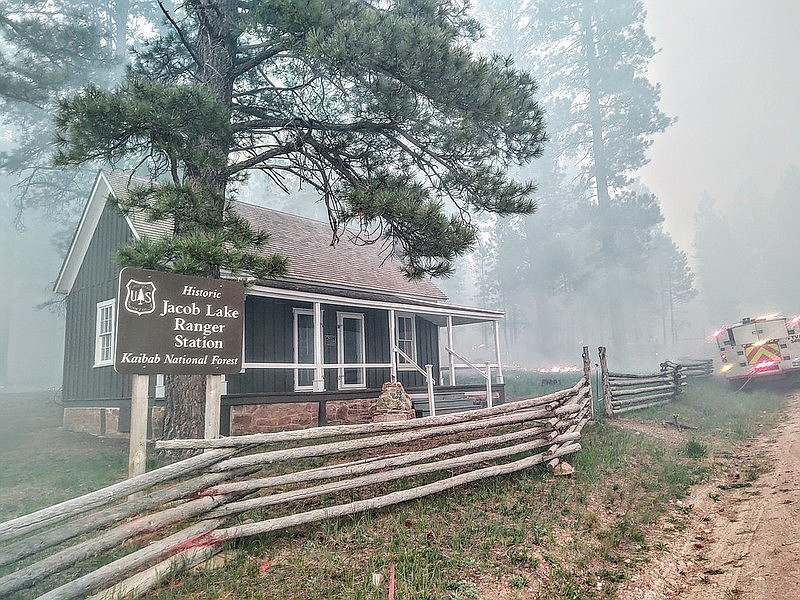 The Historic Jacob Lake Ranger Station was threatened during the Mangum Fire.