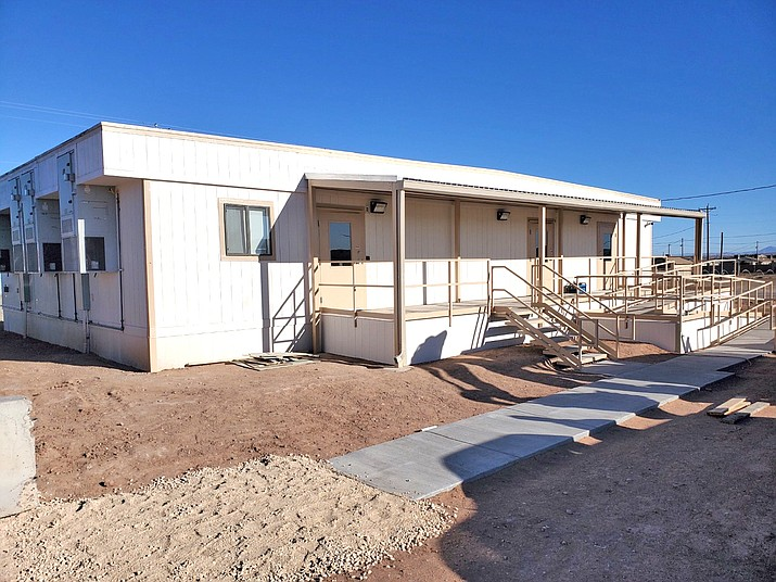 The new Chinle MVD building under construction in early March in Chinle, Arizona. The office opens March 29. (Photo/ADOT)