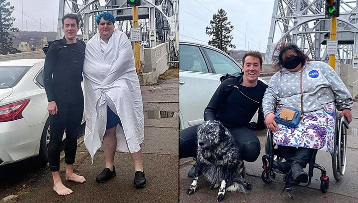 At left, Darby Voeks, 26, was about to jump off the pier at Park Point in Duluth, Minnesota, on March 24, 2021, to catch one last wave. That's when a woman in a wheelchair rolled up and said she needed help because her 29-year-old aide had gone into the water to rescue her dog. Voeks, who was in a wetsuit, dropped his surfboard and jumped in. Voeks rescued both the man and the dog. (Duluth Police Department)