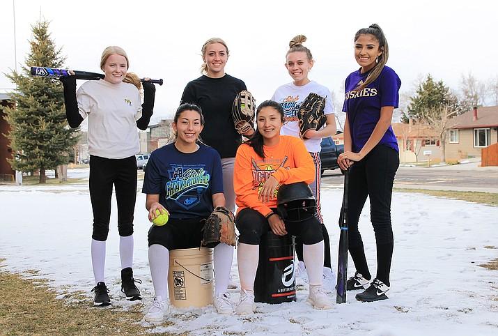 The Vikings softball team is led by seniors (clockwise from top left) McKenzie Carter, Sydnee Mortensen, Chyanne Echeverria, Cecilia Soto, Aaliyah Alvarado and Shiya Romero. (Wendy Howell/WGCN)