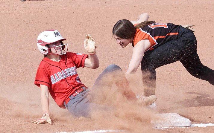 Mingus Union's Makenzie Figy slides into third base Saturday in the Marauders' 10-0 win over Williams. The Marauders improved to 4-0 with the win. VVN/Jason W. Brooks