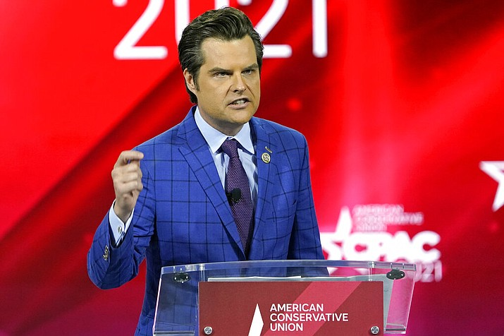 In this Feb. 26, 2021, file photo Rep. Matt Gaetz, R-Fla.,, speaks at the Conservative Political Action Conference (CPAC) in Orlando, Fla. (AP Photo/John Raoux, File)