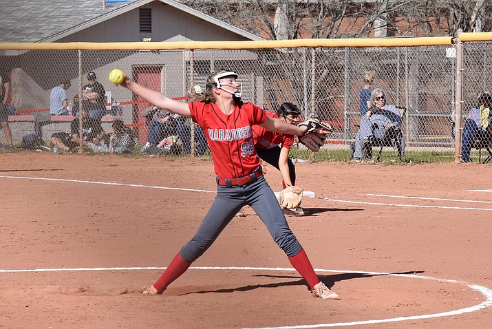 Mingus Union junior Alexis Ayersman pitches to a Williams High School batter in a recent game. Ayersman struck out 12 batters in the Marauders' 3-0 win March 30 at Flagstaff and also led the Marauders to a home win over Flagstaff on Thursday. VVN/Jason W. Brooks