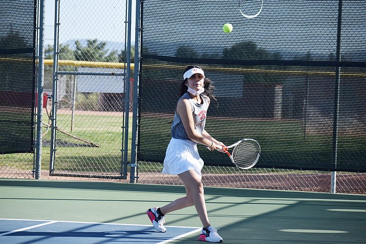 Tuesday, March 30, Mingus Union's No. 2 doubles team of Angel Franco (pictured) and Hailey Robinson beat its opponent, 8-6. The Marauder girls aren't scheduled to play at home again until Tuesday, April 13 against Prescott. VVN/Jason W. Brooks