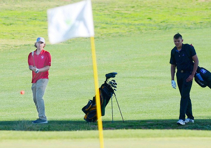 """Camp Verde senior Ethan Church, left, shot a 51 Monday and a 45 Thursday, both at Agave Highlands in Cornville. """"Ethan absolutely loves golf and he's having a blast,"""" said Patrick Peatrowsky, Camp Verde's golf coach. VVN/Vyto Starinskas"""