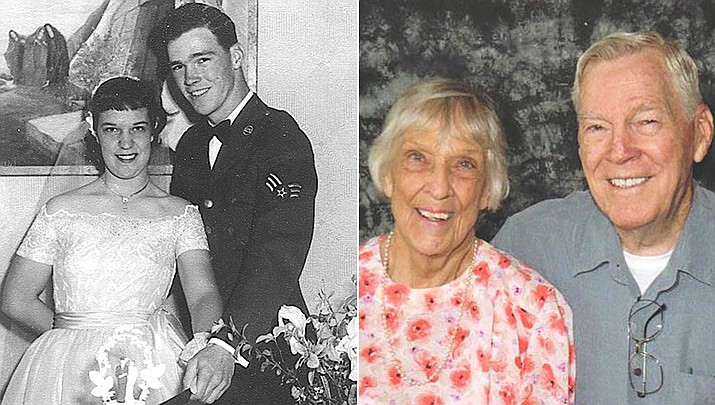 """April 10, 1952, was a very special day for Miss Peggy Riley and Sgt. John Clark as they started their life's journey together in an evening wedding ceremony at the 1st Baptist Church in Wellington, Texas. The couple moved to Long Beach, California, after being discharged from the Air Force where John attended Long Beach State College until graduating in 1958. During that time, they had two sons and had moved to Stanton, California, where they resided for 44 years. Both were active in church work as Sunday school teachers, being a deacon, and Peggy working 33 years as church secretary. John worked in the defense/aerospace industry, retiring from Hughes Aircraft in Fullerton, California in 1993. They now live in Dewey, Arizona. """"'They try to tell us we're too young' were the lyrics to a popular tune during this era, and that's all we heard from our folks. We hope by now we have proven to them that love can endure."""" (Courtesy)"""