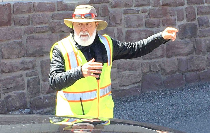 Jerome Mayor Jack Dillenberg greeted everyone driving to the event at the Jerome firehouse near the parking lot. VVN/Vyto Starinskas