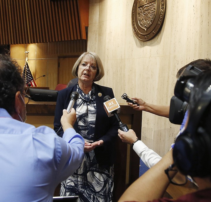 In this May 26, 2020 photo, Senate President Karen Fann, R-Prescott, speaks to the media. Fann said Friday, April 2, 2021, Maricopa County officials may be balking at cooperating with an audit of the 2020 election results because they fear what it might turn up. (Ross Franklin/AP, file)