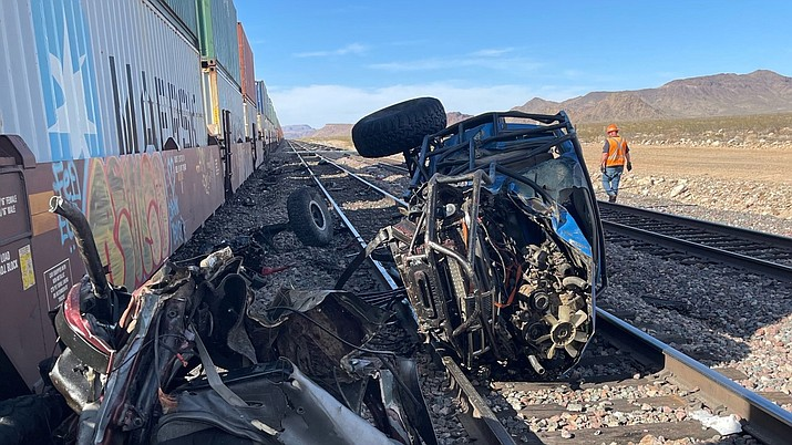 Police responded to an accident on Saturday, April 3, 2021, in Golden Valley, located about 11 miles west of Kingman and about 100 miles away from Las Vegas. Mohave County Sheriff's Office has said that three people were killed after a train crashed into two vehicles. (Mohave County Sheriff's Office)