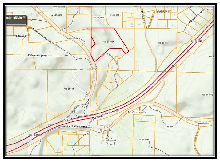 This zoning map shows where landowners want to change rural residential zoning to match industrial zoning in the McGuireville area. I-17, on this map, is the double line running diagonally near the bottom. A hearing will be part of the Yavapai County Planning and Zoning Commission's April 22 meeting. Courtesy of Yavapai County