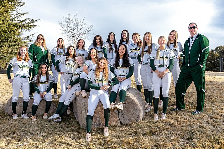 The Yavapai softball team remained undefeated in ACCAC play with a doubleheader sweep over Glendale on Saturday, April 3, by score margins of 17-2 and 11-3. Yavapai College Softball Facebook photo)